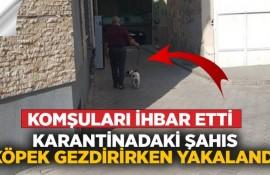 Karantinada olan şahıs köpek gezdirirken yakalandı